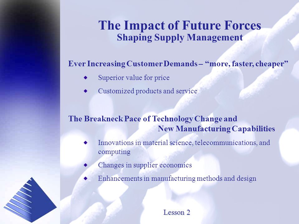 Presented by www.SourceOneInc.com Lesson 2 The Impact of Future Forces Shaping Supply Management Ever Increasing Customer Demands – more, faster, cheaper Superior value for price Customized products and service The Breakneck Pace of Technology Change and New Manufacturing Capabilities Innovations in material science, telecommunications, and computing Changes in supplier economics Enhancements in manufacturing methods and design