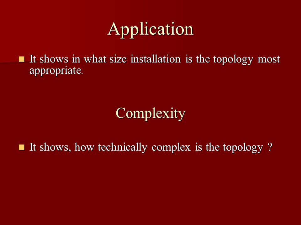 Application It shows in what size installation is the topology most appropriate.