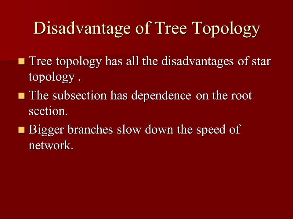 Disadvantage of Tree Topology Tree topology has all the disadvantages of star topology. Tree topology has all the disadvantages of star topology. The