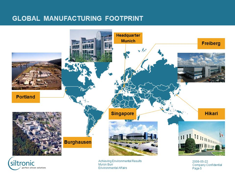 Achieving Environmental Results Myron Burr Environmental Affairs 2008-05-22 Company Confidential Page 5 GLOBAL MANUFACTURING FOOTPRINT Hikari Burghaus