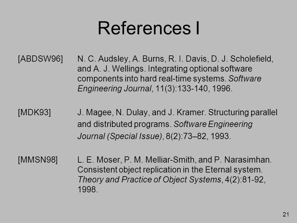 21 References I [ABDSW96]N. C. Audsley, A. Burns, R. I. Davis, D. J. Scholefield, and A. J. Wellings. Integrating optional software components into ha