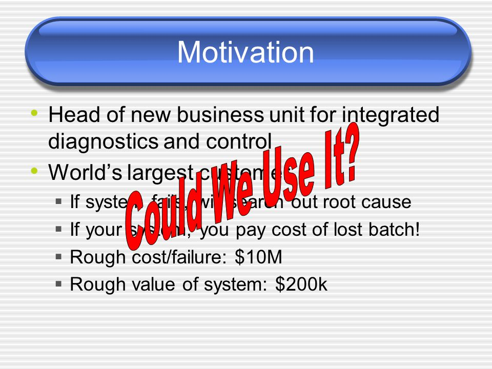 Motivation Head of new business unit for integrated diagnostics and control World's largest customer  If system fails, will search out root cause  If your system, you pay cost of lost batch.