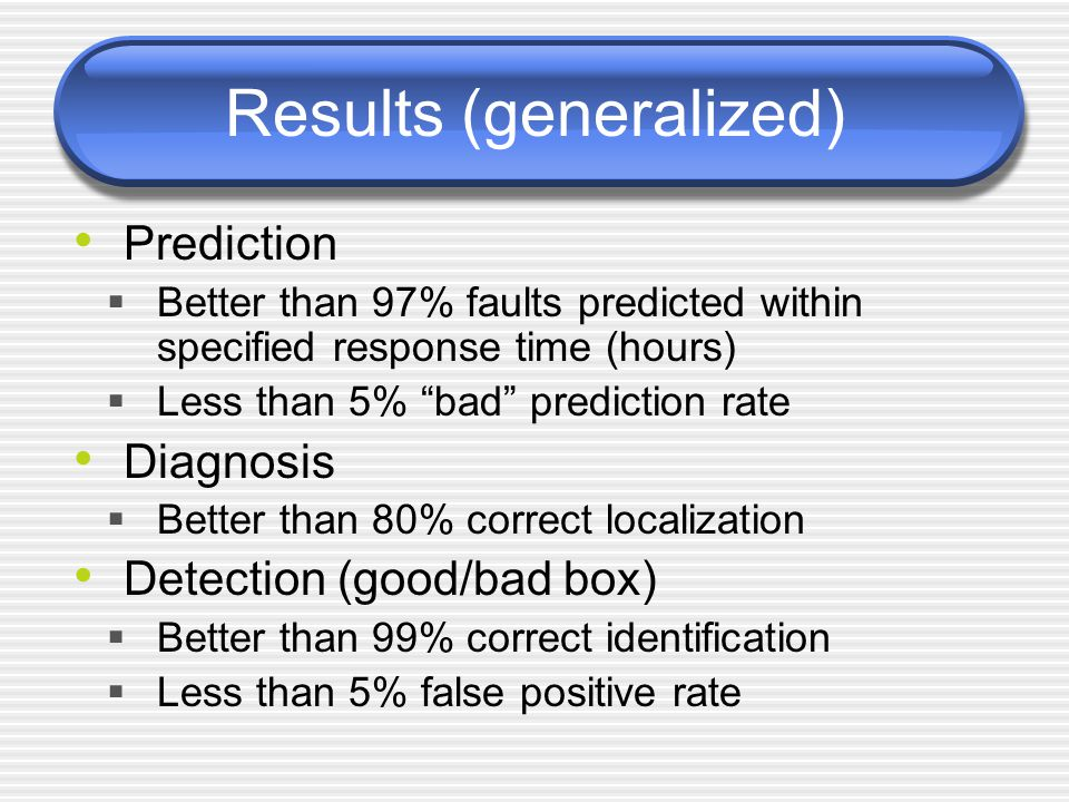 Results (generalized) Prediction  Better than 97% faults predicted within specified response time (hours)  Less than 5% bad prediction rate Diagnosis  Better than 80% correct localization Detection (good/bad box)  Better than 99% correct identification  Less than 5% false positive rate
