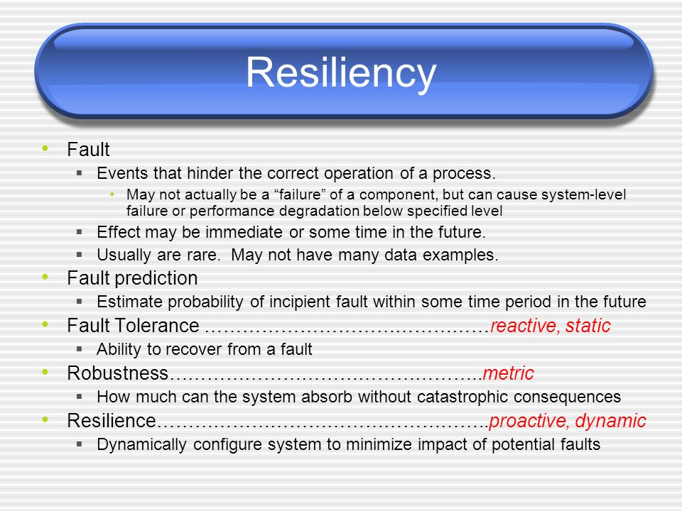 Resiliency Fault  Events that hinder the correct operation of a process.