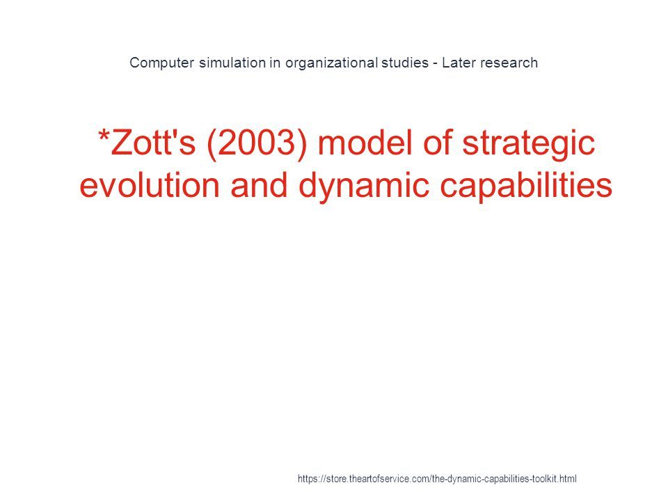 Computer simulation in organizational studies - Later research 1 *Zott s (2003) model of strategic evolution and dynamic capabilities https://store.theartofservice.com/the-dynamic-capabilities-toolkit.html