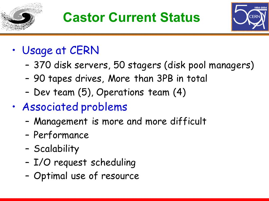 Castor Current Status Usage at CERN –370 disk servers, 50 stagers (disk pool managers) –90 tapes drives, More than 3PB in total –Dev team (5), Operations team (4) Associated problems –Management is more and more difficult –Performance –Scalability –I/O request scheduling –Optimal use of resource