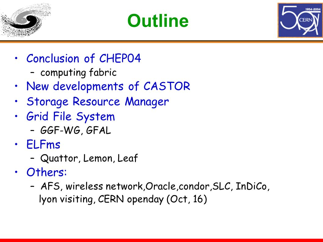 Outline Conclusion of CHEP04 –computing fabric New developments of CASTOR Storage Resource Manager Grid File System –GGF-WG, GFAL ELFms –Quattor, Lemon, Leaf Others: –AFS, wireless network,Oracle,condor,SLC, InDiCo, lyon visiting, CERN openday (Oct, 16)