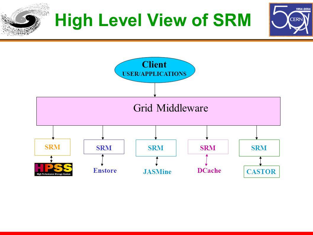 High Level View of SRM SRM Enstore JASMine Client USER/APPLICATIONS Grid Middleware SRM DCache SRM CASTOR