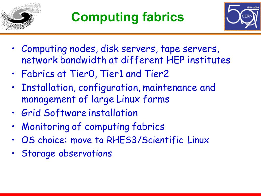 Computing fabrics Computing nodes, disk servers, tape servers, network bandwidth at different HEP institutes Fabrics at Tier0, Tier1 and Tier2 Install