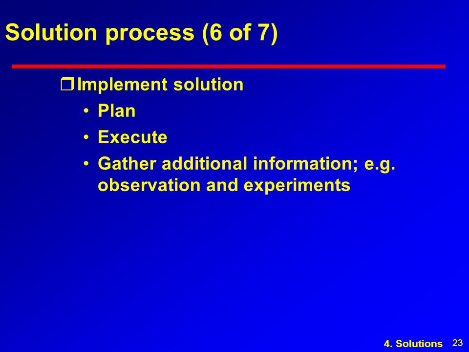 23 Solution process (6 of 7) rImplement solution Plan Execute Gather additional information; e.g.