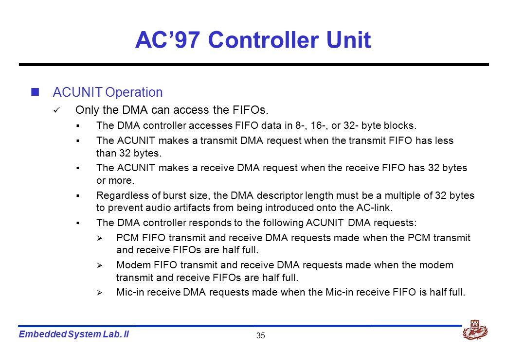 Embedded System Lab. II 35 AC'97 Controller Unit ACUNIT Operation Only the DMA can access the FIFOs.  The DMA controller accesses FIFO data in 8-, 16