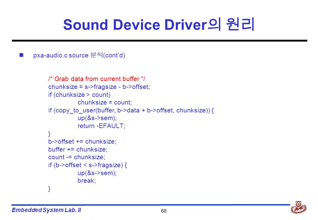 Embedded System Lab. II 68 Sound Device Driver 의 원리 pxa-audio.c source 분석 (cont'd) /* Grab data from current buffer */ chunksize = s->fragsize - b->of