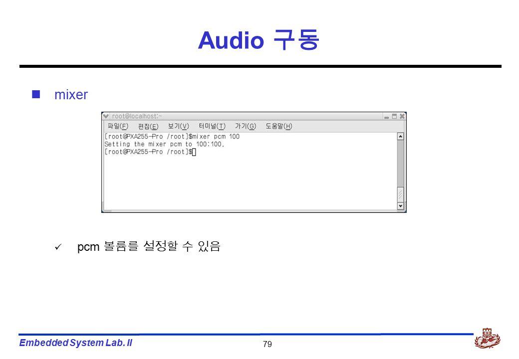 Embedded System Lab. II 79 Audio 구동 mixer pcm 볼륨를 설정할 수 있음