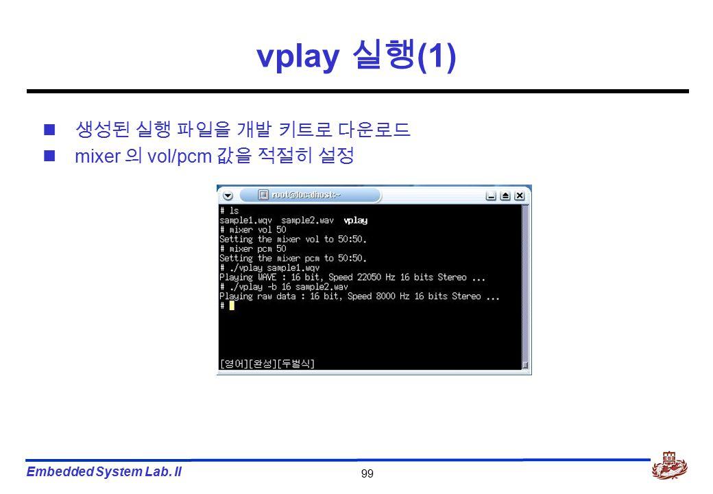 Embedded System Lab. II 99 vplay 실행 (1) 생성된 실행 파일을 개발 키트로 다운로드 mixer 의 vol/pcm 값을 적절히 설정