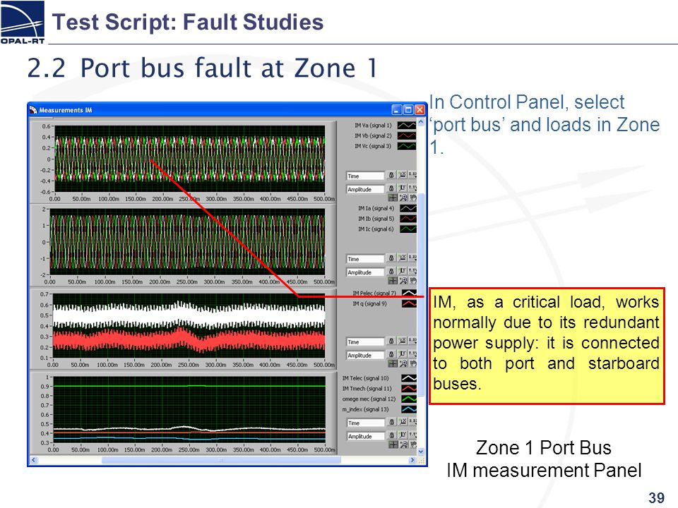 39 Test Script: Fault Studies 2.2 Port bus fault at Zone 1 In Control Panel, select 'port bus' and loads in Zone 1.