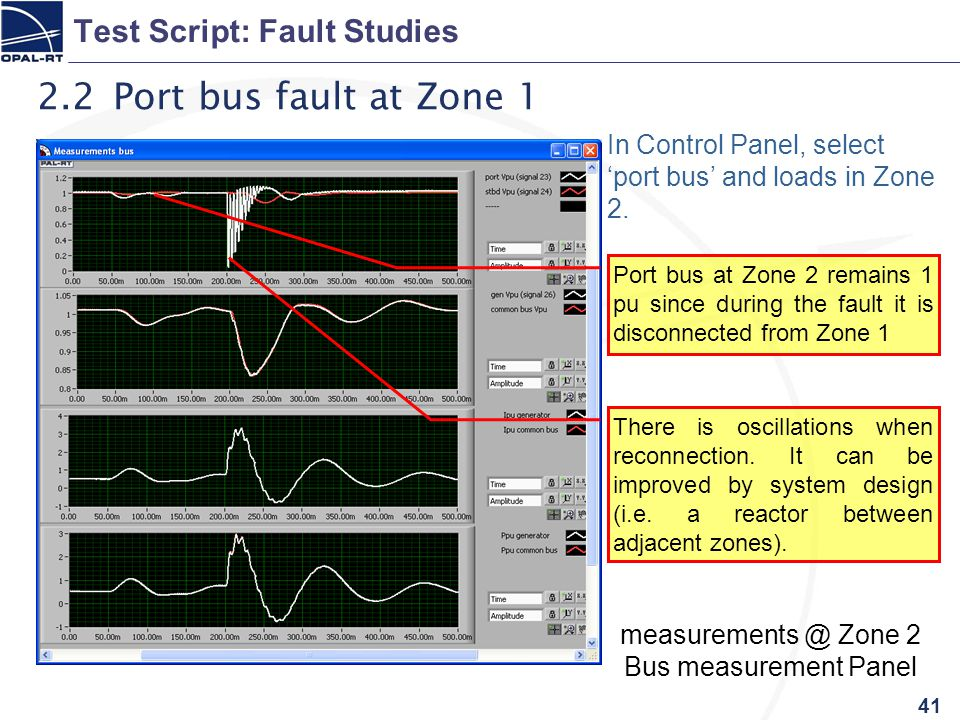 41 Test Script: Fault Studies 2.2 Port bus fault at Zone 1 In Control Panel, select 'port bus' and loads in Zone 2.