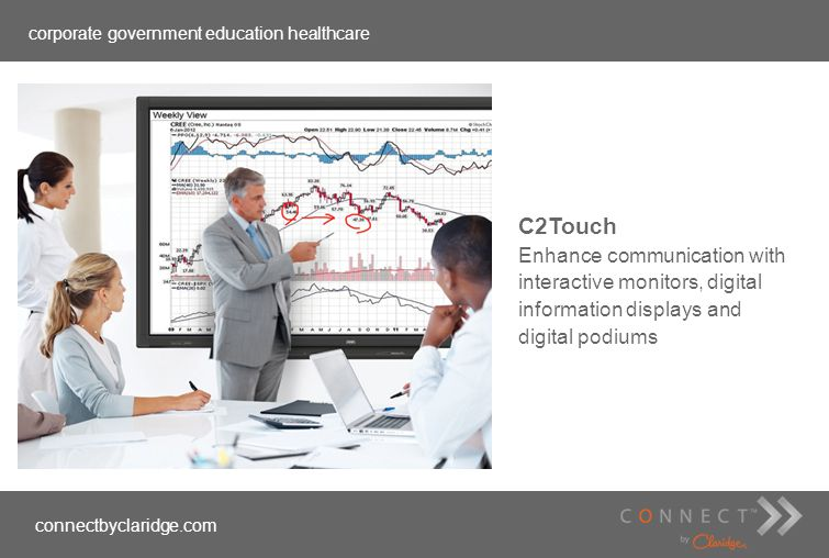 corporate government education healthcare connectbyclaridge.com C2Touch Enhance communication with interactive monitors, digital information displays