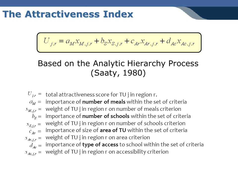 Based on the Analytic Hierarchy Process (Saaty, 1980) The Attractiveness Index total attractiveness score for TU j in region r.