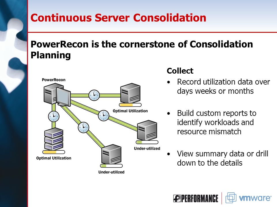 Continuous Server Consolidation PowerRecon is the cornerstone of Consolidation Planning Collect Record utilization data over days weeks or months Build custom reports to identify workloads and resource mismatch View summary data or drill down to the details