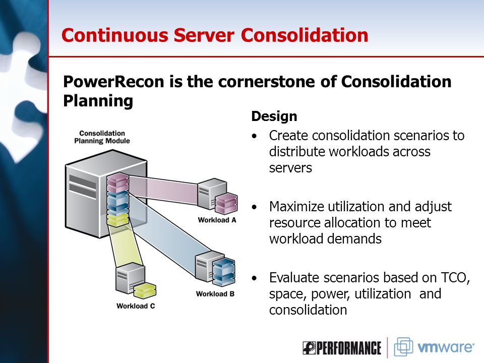 Continuous Server Consolidation PowerRecon is the cornerstone of Consolidation Planning Design Create consolidation scenarios to distribute workloads across servers Maximize utilization and adjust resource allocation to meet workload demands Evaluate scenarios based on TCO, space, power, utilization and consolidation
