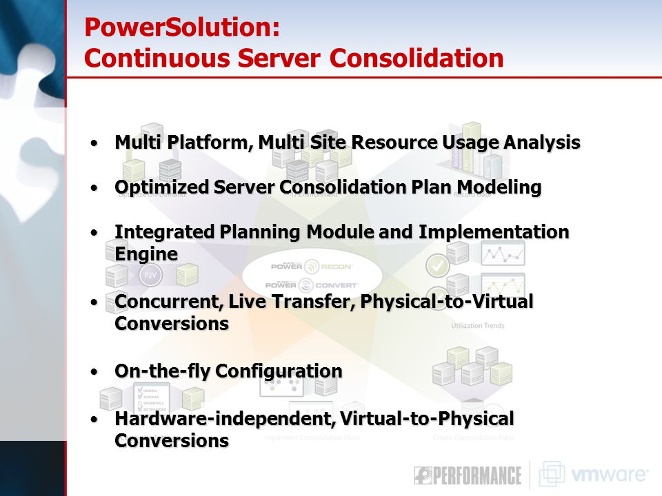 PowerSolution: Continuous Server Consolidation Multi Platform, Multi Site Resource Usage AnalysisMulti Platform, Multi Site Resource Usage Analysis Optimized Server Consolidation Plan ModelingOptimized Server Consolidation Plan Modeling Integrated Planning Module and Implementation EngineIntegrated Planning Module and Implementation Engine Concurrent, Live Transfer, Physical-to-Virtual ConversionsConcurrent, Live Transfer, Physical-to-Virtual Conversions On-the-fly ConfigurationOn-the-fly Configuration Hardware-independent, Virtual-to-Physical ConversionsHardware-independent, Virtual-to-Physical Conversions
