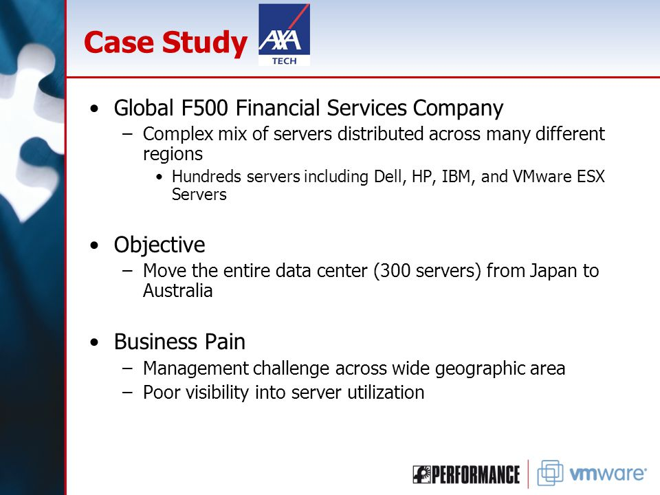 Case Study Global F500 Financial Services Company –Complex mix of servers distributed across many different regions Hundreds servers including Dell, H
