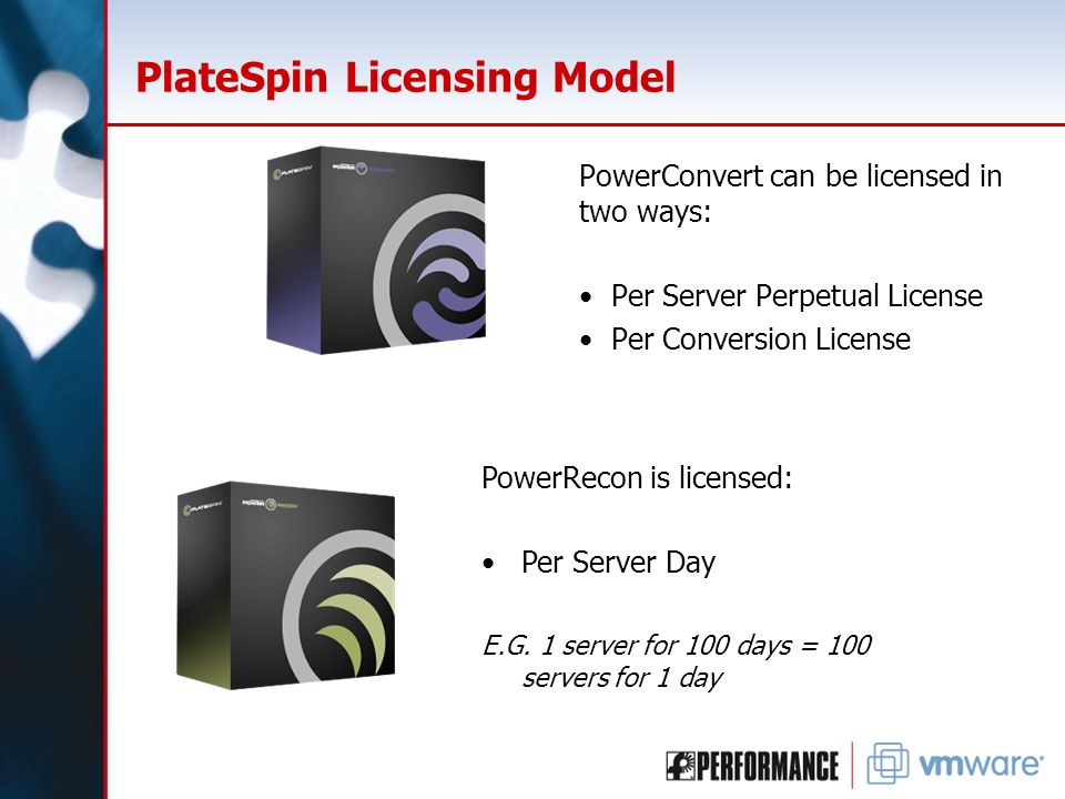 PlateSpin Licensing Model PowerConvert can be licensed in two ways: Per Server Perpetual License Per Conversion License PowerRecon is licensed: Per Se