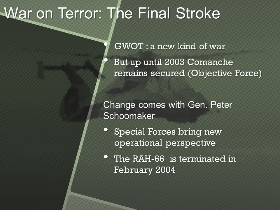 Conclusion Lack of a broad-based support, fluctuating commitment Lack of a broad-based support, fluctuating commitment The program was transformed into an ISR platform to secure an incontestable role within the Army The program was transformed into an ISR platform to secure an incontestable role within the Army But Comanche's constituency had remained fragile: after Shinseki departure, the subsequent merger of the Army's and OSD's operational perspectives killed the program But Comanche's constituency had remained fragile: after Shinseki departure, the subsequent merger of the Army's and OSD's operational perspectives killed the program Service's support for a given program can significantly change over time, and has to be examined in order to explain termination Service's support for a given program can significantly change over time, and has to be examined in order to explain termination