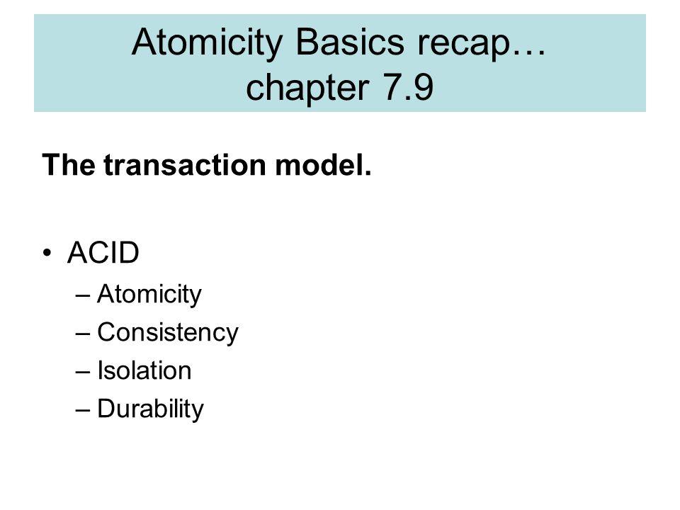 Atomicity Basics recap… chapter 7.9 The transaction model.