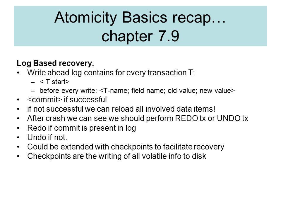 Atomicity Basics recap… chapter 7.9 Log Based recovery.