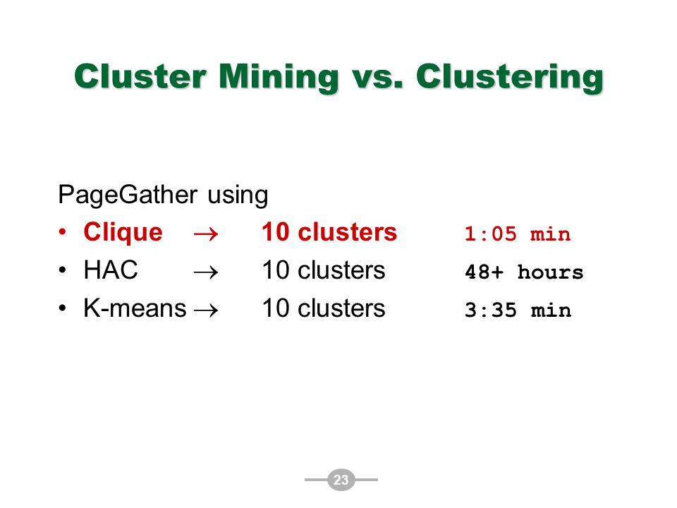 23 Cluster Mining vs.