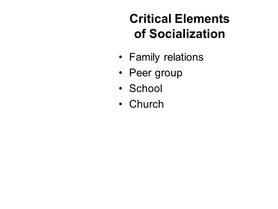 Critical Elements of Socialization Family relations Peer group School Church