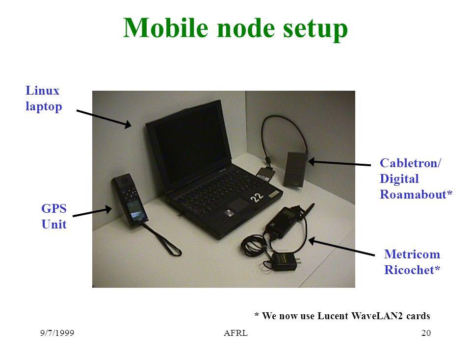9/7/1999AFRL20 Mobile node setup GPS Unit Cabletron/ Digital Roamabout* Metricom Ricochet* Linux laptop * We now use Lucent WaveLAN2 cards