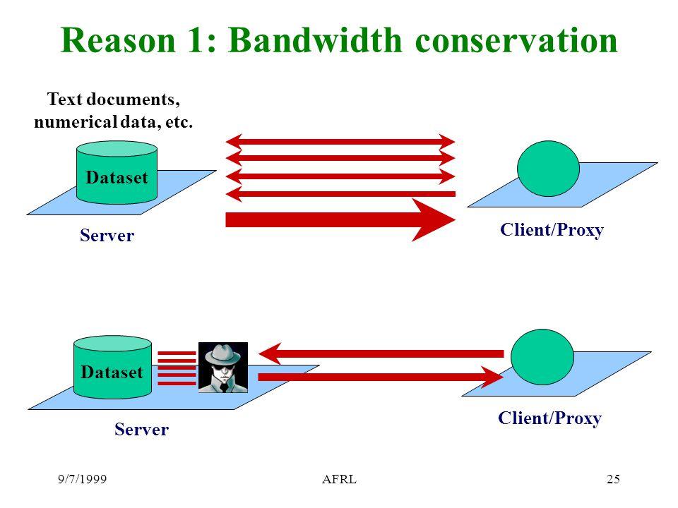 9/7/1999AFRL25 Reason 1: Bandwidth conservation Server Dataset Text documents, numerical data, etc.