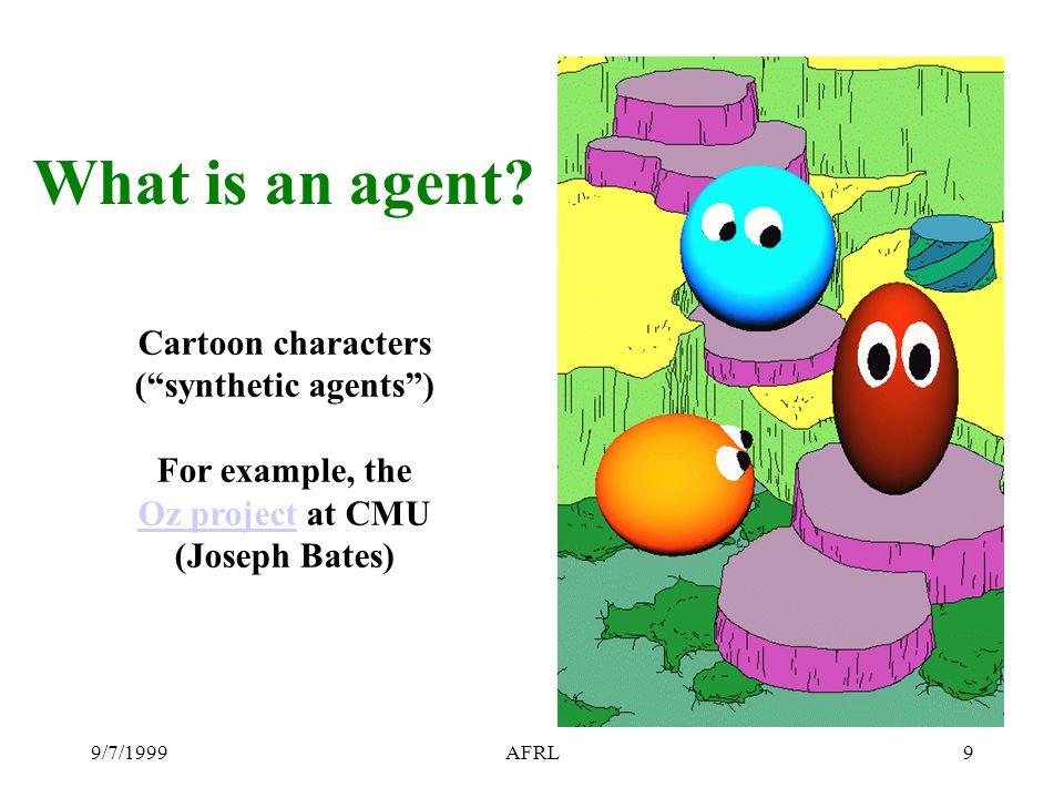 9/7/1999AFRL50 Agent Tcl primitives (I) agent_begin Register with the local agent server agent_name Obtain a name in the namespace agent_end Unregister and exit Server 1.