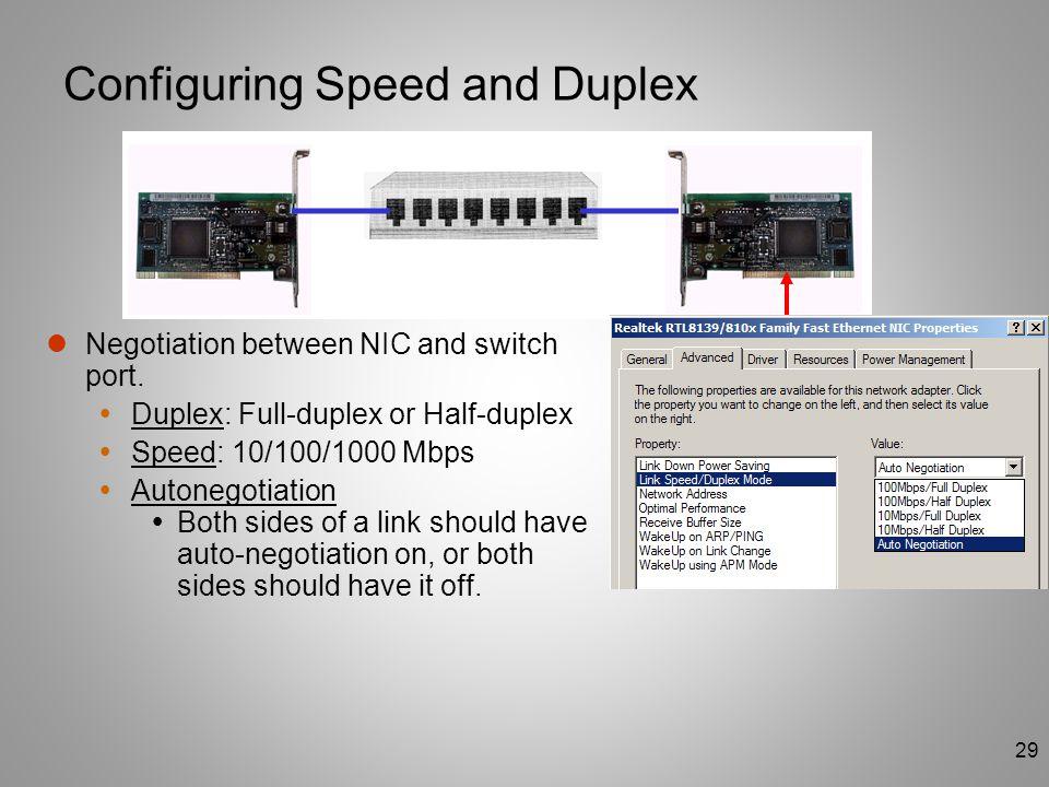 29 Configuring Speed and Duplex Negotiation between NIC and switch port.  Duplex: Full-duplex or Half-duplex  Speed: 10/100/1000 Mbps  Autonegotiat