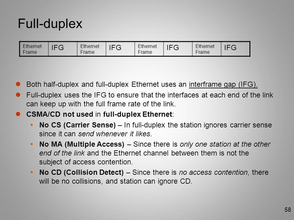 58 Full-duplex Both half-duplex and full-duplex Ethernet uses an interframe gap (IFG). Full-duplex uses the IFG to ensure that the interfaces at each