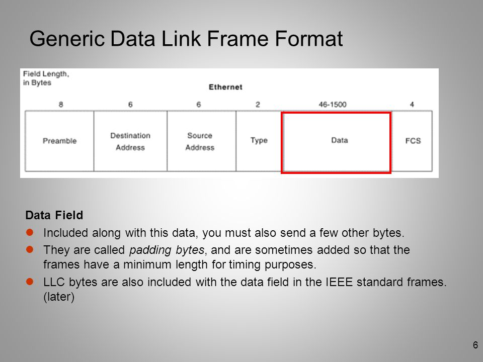 6 Generic Data Link Frame Format Data Field Included along with this data, you must also send a few other bytes. They are called padding bytes, and ar