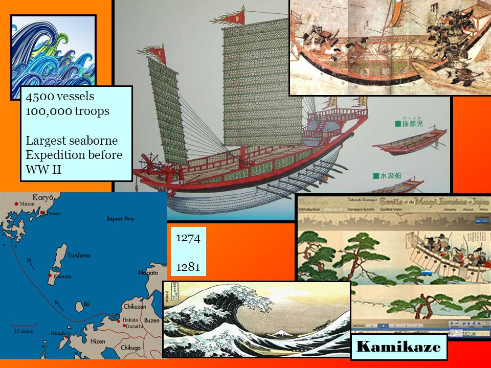 1274 1281 Kamikaze 4500 vessels 100,000 troops Largest seaborne Expedition before WW II
