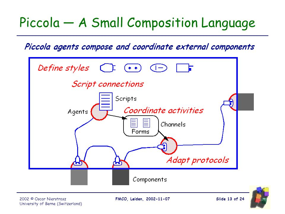 Slide 13 of 24FMCO, Leiden, 2002-11-072002 © Oscar Nierstrasz University of Berne (Switzerland) Piccola — A Small Composition Language Piccola agents compose and coordinate external components