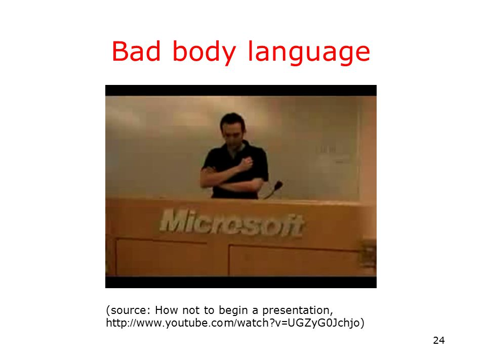 24 Bad body language (source: How not to begin a presentation, http://www.youtube.com/watch?v=UGZyG0Jchjo)