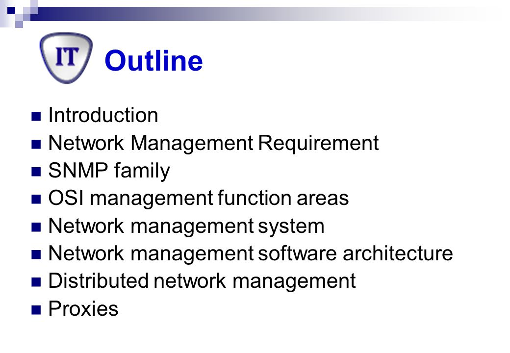 Simple Network Management Protocol A set of standards for network management  a protocol  a data base structure specification  a set of data objects Advantages  Stability : definition remain fixed  Simplicity: removes the complexity  Flexibility : support arbitrary commands