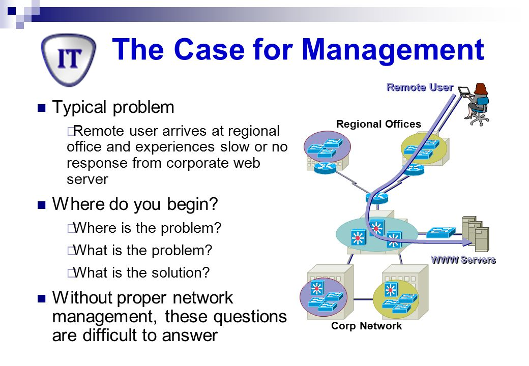 Corp Network Regional Offices WWW Servers Remote User The Case for Management With proper management tools and procedures in place, you may already have the answer Consider some possibilities What configuration changes were made overnight.