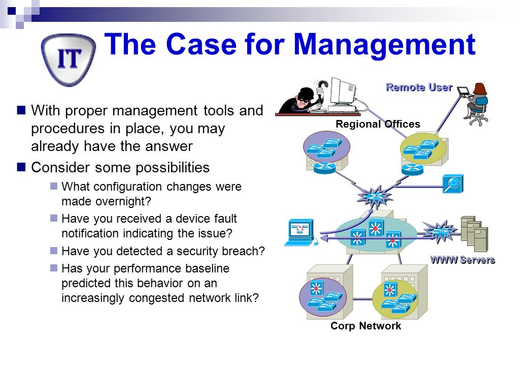 Communication & Database Support Software Network management software needs access to a local MIB, and to remote agents and managers Local MIB at an agent contains  Information reflecting the configuration and behavior of this node  Parameters used to control the operation of this node Local MIB at a manager contains  Node-specific information  Summary information about agents under control