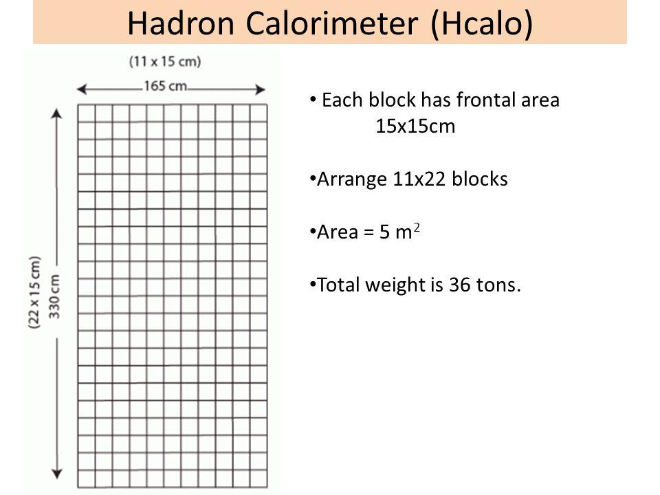 Hadron Calorimeter (Hcalo) Each block has frontal area 15x15cm Arrange 11x22 blocks Area = 5 m 2 Total weight is 36 tons.