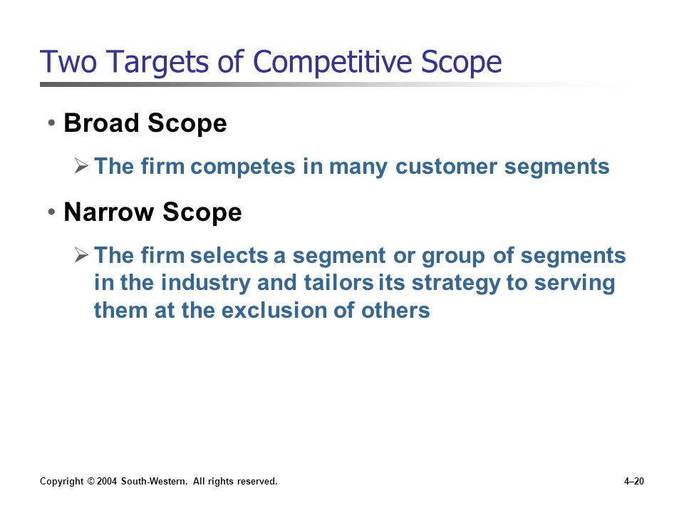 Copyright © 2004 South-Western. All rights reserved.4–20 Two Targets of Competitive Scope Broad Scope  The firm competes in many customer segments Na