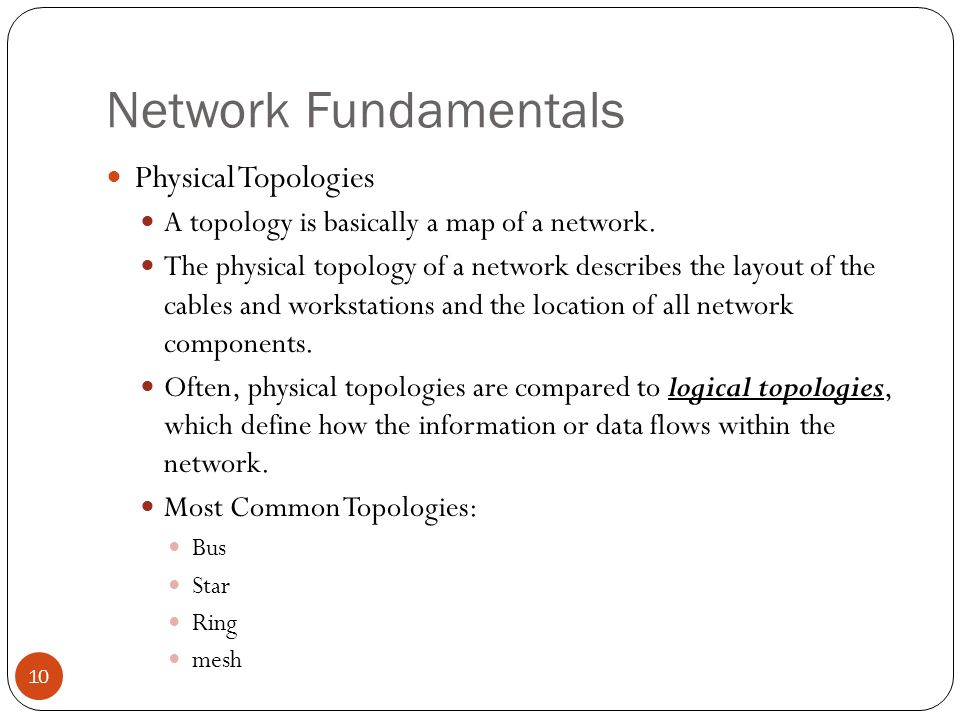 Network Fundamentals Physical Topologies A topology is basically a map of a network.