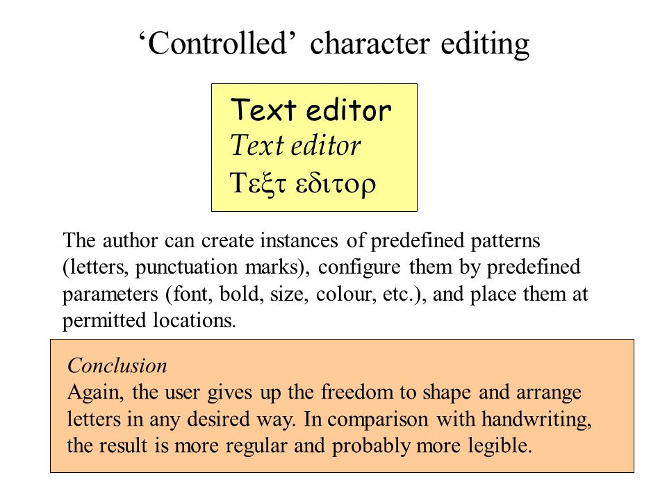 'Controlled' character editing Text editor  The author can create instances of predefined patterns (letters, punctuation marks), configure them by predefined parameters (font, bold, size, colour, etc.), and place them at permitted locations.