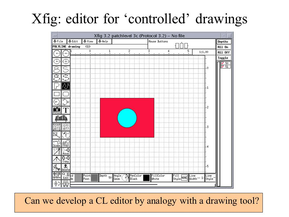 Xfig: editor for 'controlled' drawings Can we develop a CL editor by analogy with a drawing tool?
