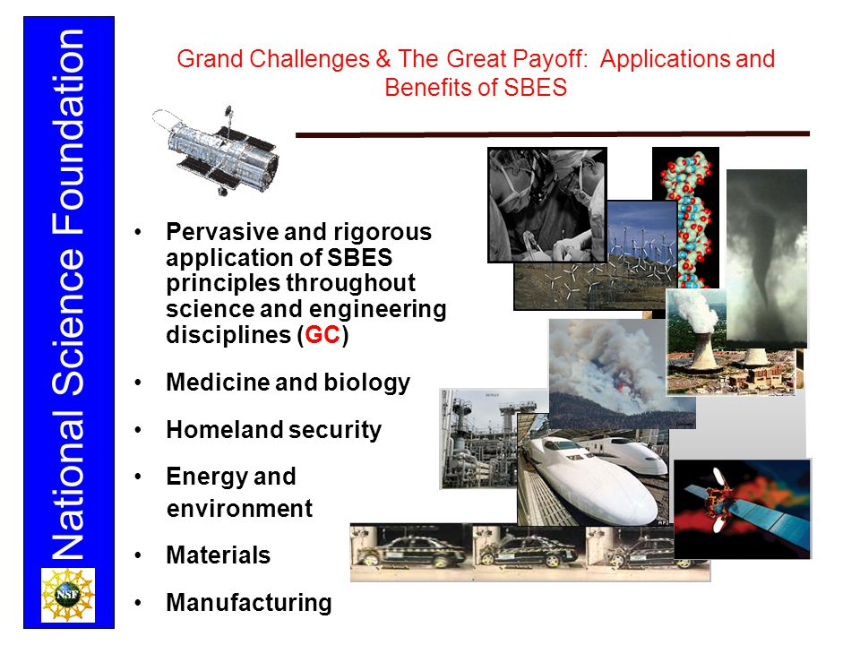 National Science Foundation Grand Challenges & The Great Payoff: Applications and Benefits of SBES Pervasive and rigorous application of SBES principl